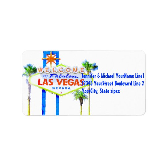 Colourful Las Vegas Welcome Sign Address Label