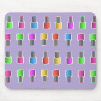 Colourful Lavender Nail Polish Bottles Mousepad
