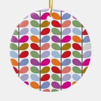 Colourful Leaf Pattern Round Ceramic Decoration