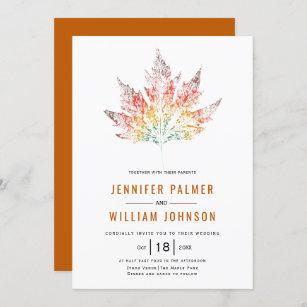 Colourful leaf print burnt orange fall wedding invitation