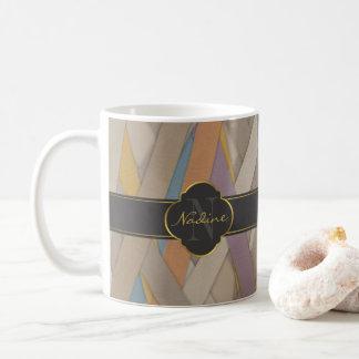 Colourful leather stripe coffee mug