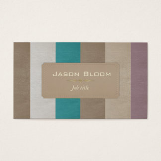 Colourful leather stripes business card