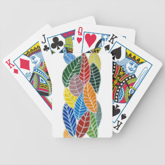 Colourful leaves bicycle playing cards