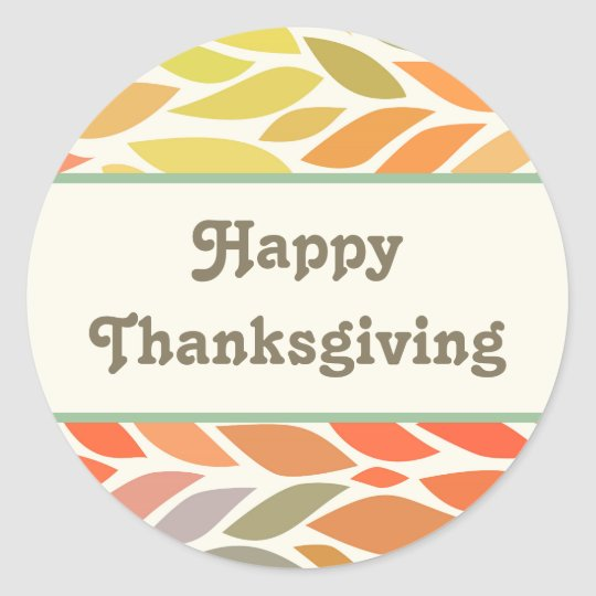 Colourful Leaves Happy Thanksgiving Sticker