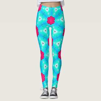 Colourful leggings in pinks and blue
