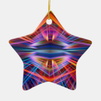 Colourful light beams pattern christmas ornament