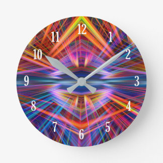Colourful light beams pattern round clock