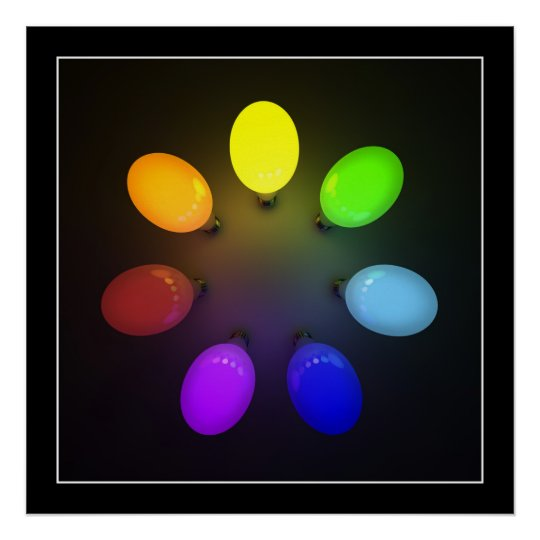 Colourful light bulbs - Poster