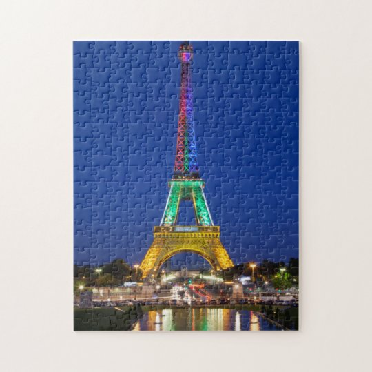 Colourful light display on the Eiffel Tower Jigsaw