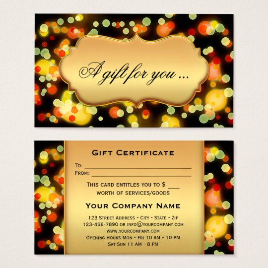 Colourful Light Sparkles Gift Certificate Template
