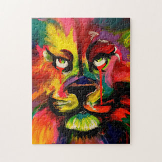 Colourful lion face painted in tattoo ink jigsaw jigsaw puzzle