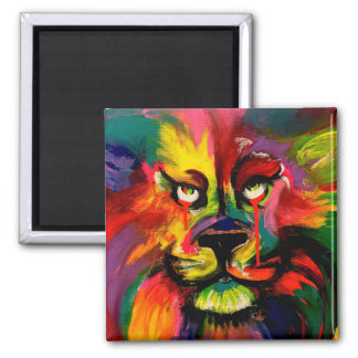 Colourful lion painted with tattoo ink square magnet