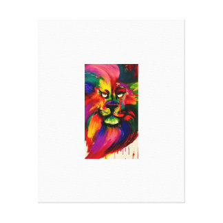 Colourful Lion Painting Gallery Wrapped Canvas