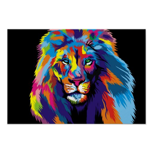 Colourful lion poster
