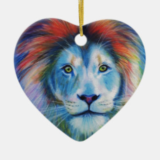 Colourful Lions Ceramic Heart Decoration