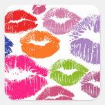 Colourful Lipstick Kisses Lip Colour Square Stickers