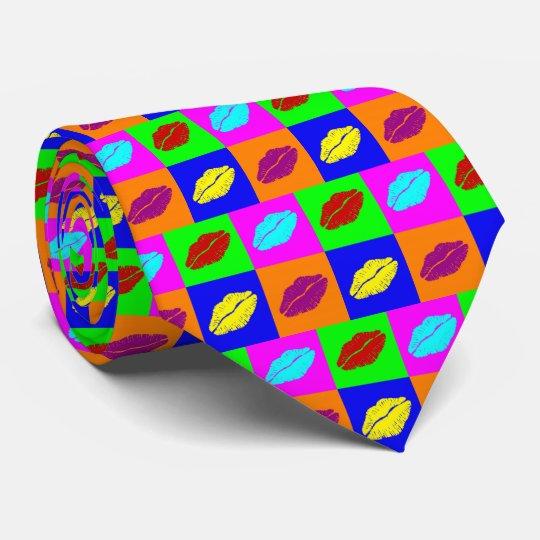Colourful lipstick kisses tie