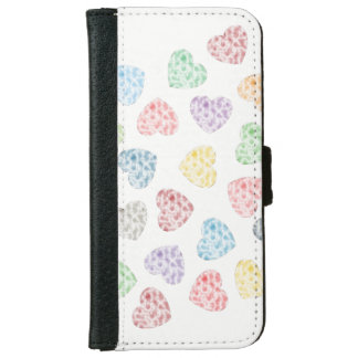 Colourful little hearts iPhone 6 wallet case