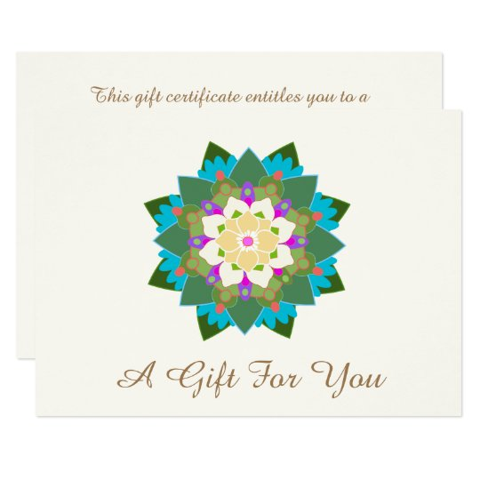 Colourful Lotus Floral Mandala Gift Certificate Card