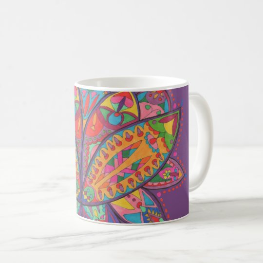 Colourful lotus flower coffee mug