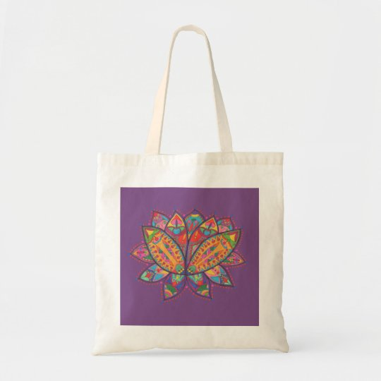 Colourful lotus flower tote bag