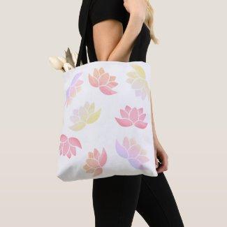 Colourful lotus flowers tote bag