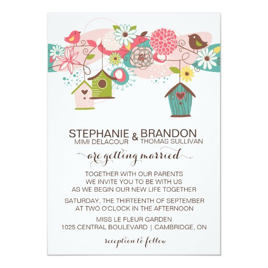 Colourful Love Birds & Bird Houses Wedding Invite