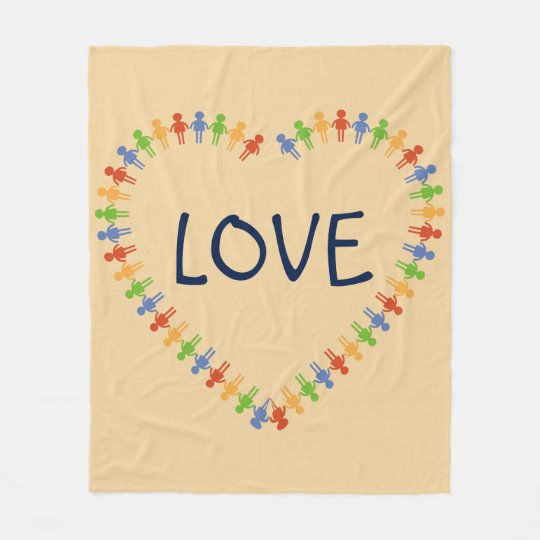 Colourful LOVE Heart Design Fleece Blanket