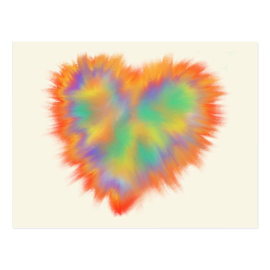 Colourful Love Heart Psychedelic Art Design Postcard