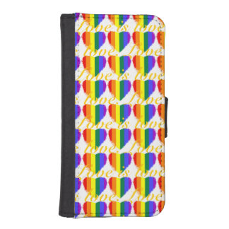 Colourful love is love rainbow hearts pattern iPhone SE/5/5s wallet case