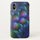 Colourful Luminous Abstract Blue Pink Green iPhone X Case