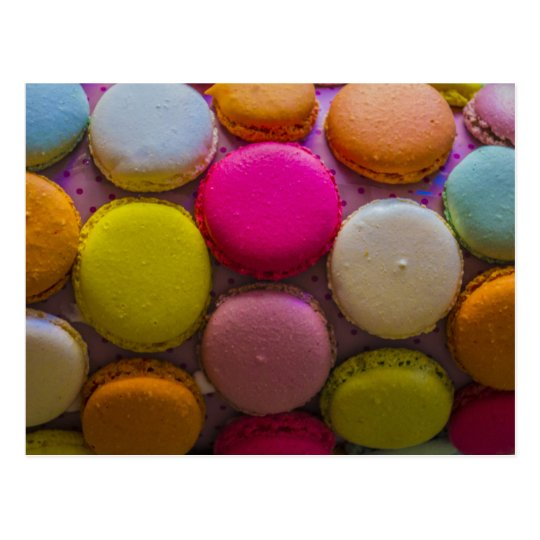 Colourful Macarons Tasty Baked Dessert Postcard