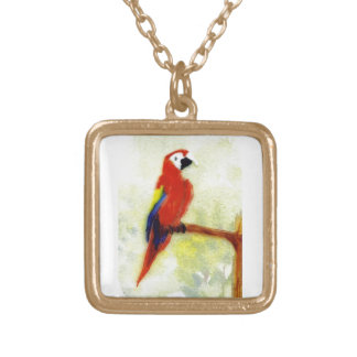 Colourful Macaw Parrot Art Gold Plated Necklace