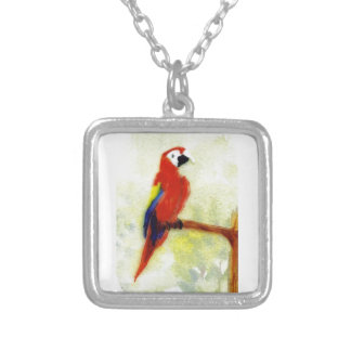 Colourful Macaw Parrot Art Silver Plated Necklace