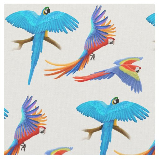 Colourful Macaw Parrots Fabric