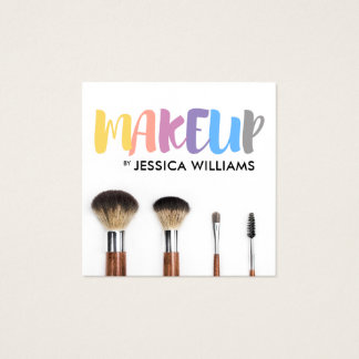 Colourful Makeup Artist Square Business Card