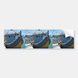 Colourful Maltese Fishing Boat Bumper Sticker