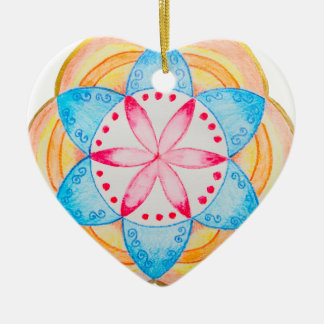 Colourful Mandala Flower Hand Painted Ceramic Heart Decoration