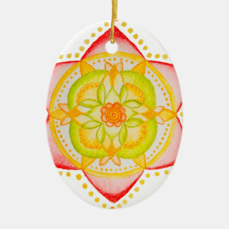 Colourful Mandala Flower Hand Painted Ceramic Oval Decoration