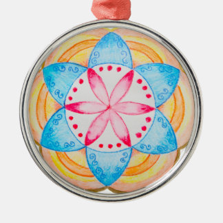 Colourful Mandala Flower Hand Painted Silver-Colored Round Decoration