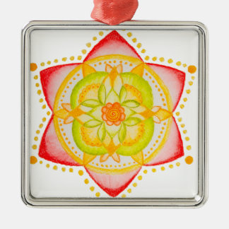 Colourful Mandala Flower Hand Painted Silver-Colored Square Decoration