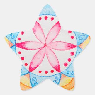 Colourful Mandala Flower Hand Painted Star Sticker