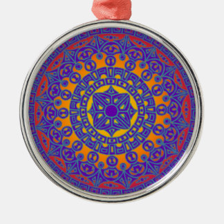 Colourful Mandala Silver-Colored Round Decoration