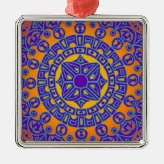 Colourful Mandala Silver-Colored Square Decoration