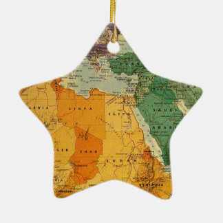 Colourful map cool ceramic star decoration