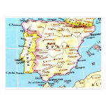 Colourful Map of Spain Design Postcard