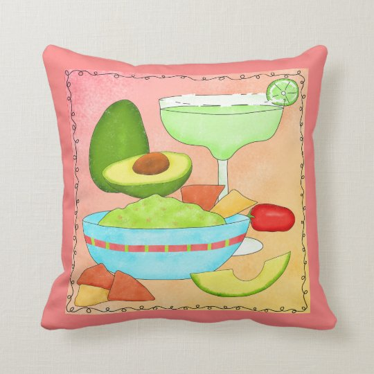 Colourful Margarita Guacamole Fun Celebrate Cushion