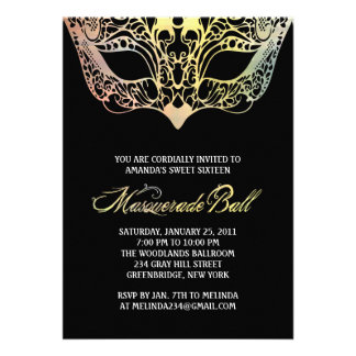 Colourful Mask Masquerade Invitations