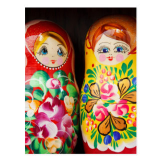 Colourful Matryoshka Dolls Post Card