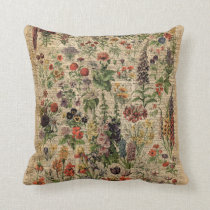 Colourful Meadow Flowers Herbs Dictionary Art Cushion
